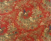 "Ralph Lauren ""Ainsworth""  Equestrian Hunt Scene Designer  Fabric in Red. Drapery Weight Print Cotton Twill"
