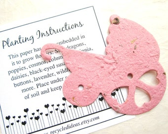 12 Plantable Baby Carriages - Pram Baby Shower Favors Flower Seed with Cards - Baby Pink Baby Blue