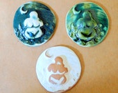 3 Ceramic Mosaic tiles - Goddess Cabochones - Handmade Ceramic Earth Mother tiles