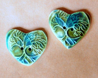 2 Beautiful Tree of Life Heart Buttons