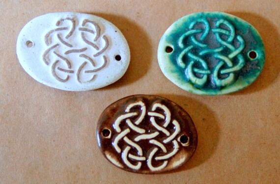 3 Handmade Ceramic Beads - Sweet Set of Small Bracelet Beads - Celtic Knot Beads