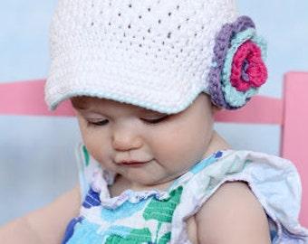 "Newsboy Hat Crocheted The  ""Caitlin Paige "" White, Violet, Blue, Hot Pink Skater Visor Beanie Brimmed hat Flower"