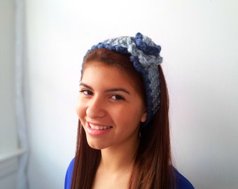 Versatile Denim and Light Blue Neckwarmer or Headband. Choose Your Colors.