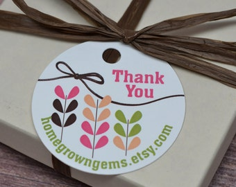 Custom Thank You Tags Gift Tags Retro Floral in Peaches and Berries - 00001d