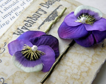 Little Violet Pansy Clips
