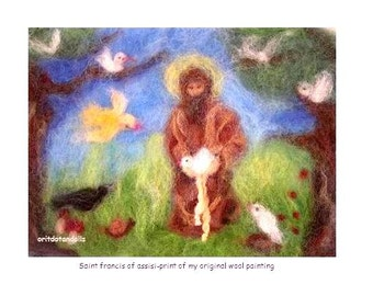 Saint Francis of Assisi talking with the birds-print of my wool paintimg WALDORF EDUCATION arts