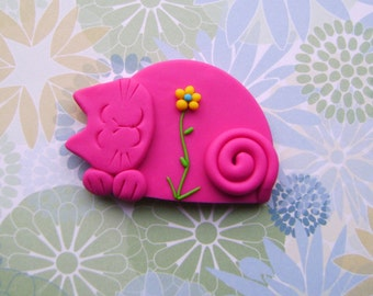Fimo Polymer Clay Pink Cat with Flower Brooch Pin or Magnet