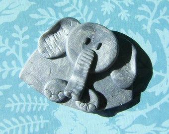 Polymer Clay Silver grey Elephant Brooch or Magnet
