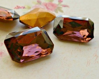 Two 18x13mm Amethyst Octagon Vintage Glass Rhinestone Jewels (12-13F-2)