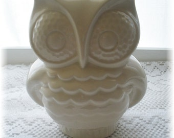 Owl Home Decor  Bank in white Vintage