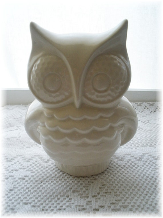 Items Similar To Owl Home Decor Bank In White Vintage On Etsy