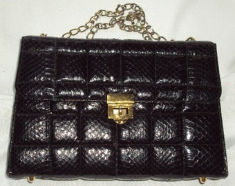 Kelly Style Genuine Snakeskin Handbag Vintage Black Box Chain Shoulder Leather Quilted Purse