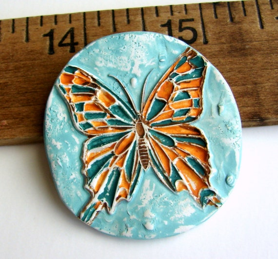 Handmade Polymer Clay Butterfly Pendant/Focal - Imprint Series