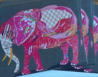 Pink Elephant Notecard Set from Original Painting Collage