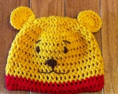 Winnie the Pooh Beanie Pooh Beanie Winnie the Pooh Hat-photo prop-costume-all sizes newborn through adult