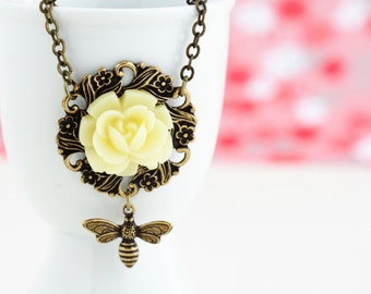 Bee Necklace - Bee Pendant - Vintage Style Floral Necklace - Brass Necklace - Whimsical Necklace - Gift For Her - Nature Necklace