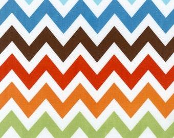 Ann Kelle's Remix  BERMUDA Chevron Stripes  Aqua and white, half  Yard