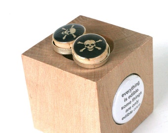 Skull Crossbones Cufflinks, Stainless Steel Poison Cufflinks Cork Recycled Wood, Tattoo Black Goth Gothic Wedding by Uncorked