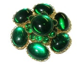 Vintage Emerald Green Glass Stones Brooch Bezel and Prong Set Stones TREASURY ITEM
