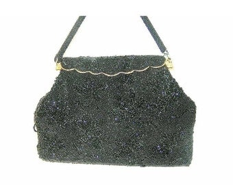 Vintage Beaded Black Purse Floral Design Made in Hong Kong
