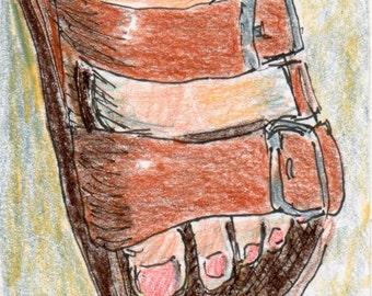 ACEO Birkenstock Sandal Original Drawing