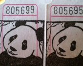 Happy Panda Vintage Style Hand Stamped Carnival Tickets