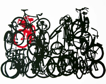 Bicycle Art  Print - Bike Stack 10-21