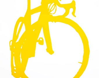 Bicycle Art Print - Evelyn's  Bike in Yellow