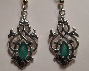 Celtic Emerald  Earrings ... Sterling Silver  ....                  e415