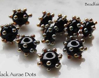 Lampwork Bead, 1 Pair Black Aurae Dots by Beadfairy Lampwork, SRA