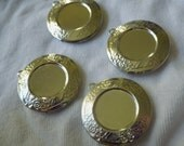 Silver Round 30mm Lockets with Fancy Border and 18mm Round Setting 4 Pcs