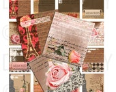 Buy 1 Get 1 Free Vintage Shabby Chic French Ephemera Paris Eiffel Rose Chic Digital Scrabbles Collage  INSTANT DOWNLOAD