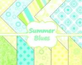 INSTANT DOWNLOAD Summer Blues Retro Polka Dot Stripes Digital Scrapbooking 10 Paper Pack 12x12 Buy 1 Get 1 Free