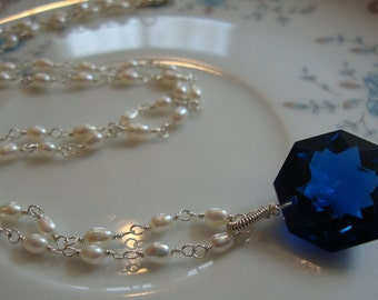 Dark Swiss Blue Topaz and Rice Pearls Necklace