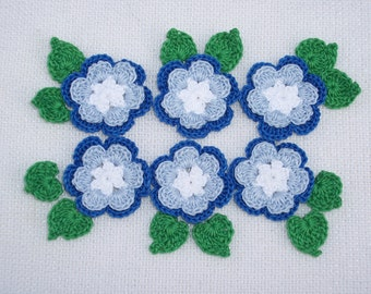 6 handmade blue crochet applique flowers with leaves  --  1736