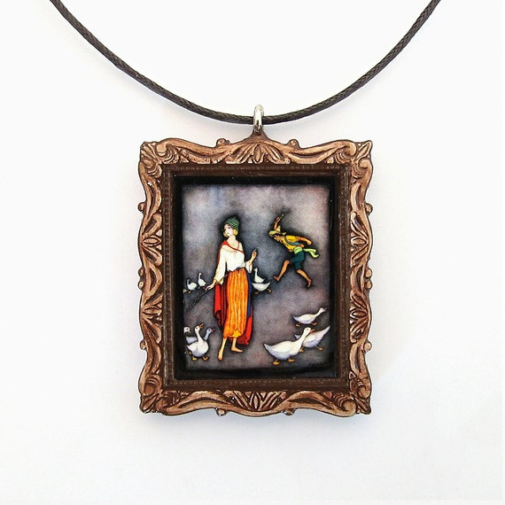 The Goose Girl Fairy Tale Pendant and Necklace