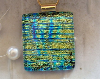 Fused Dichroic Glass Pendant, Glass Jewelry, Gold, Aqua, Necklace Included