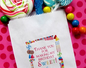 Personalized Candy Bags, Candy Sprinkle, Candy Favor bags, Candy Buffet bags, Birthday party, Sweets, Treats