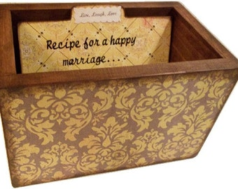 Wedding Guest Book Box, Recipe Box, Wedding Card Box, Holds 4x6 Cards. Gift for Couples, Bridal Shower Gift,  Damask, Storage  MADE TO ORDER
