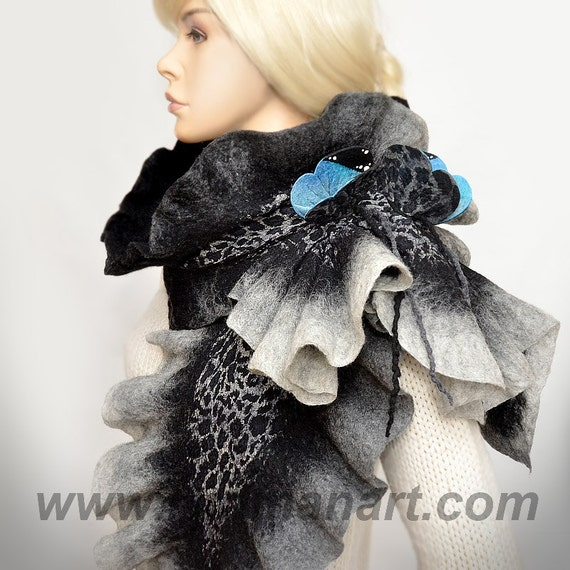 Felted 3D ART Scarf Silk wool wrap shawl scarf Blue Monarch Butterflies