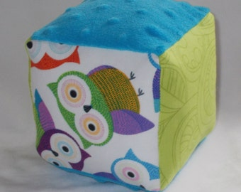 Bright Owls Fabric Block Rattle Toy