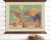 Vintage Map Wall Art, Bon Voyage, Wood Bound Canvas