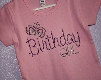 BIRTHDAY GIRL with CROWN rhinestud tee by Daisy Creek Designs