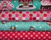 Gingerbread Houses, Snowflakes, Peppermints, Ta Dots  Michael Miller Holiday, 1/2 Yard of Each, 2 Yard Bundle