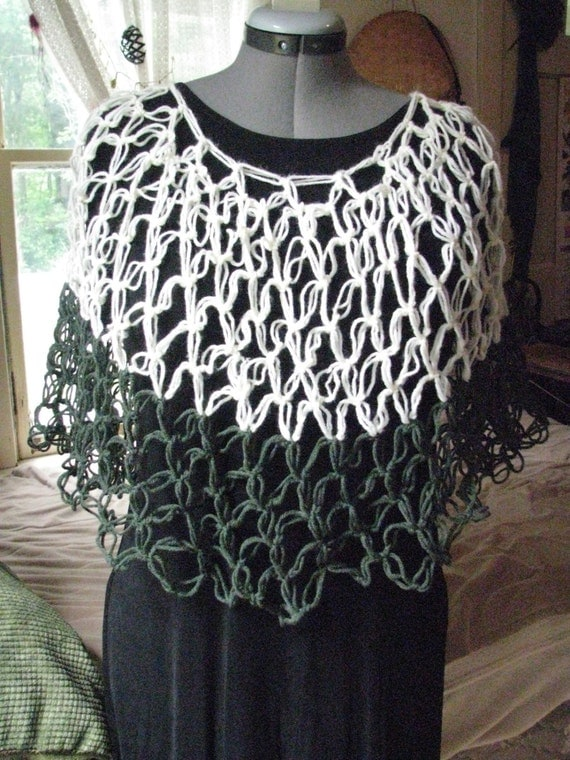 White and Dark Green Crocheted Mesh Poncho or shawl