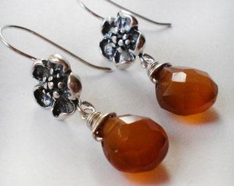 Chalcedony AMBER dark Orange teardrop Floral Sterling Silver drop earrings