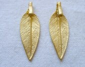 2 Tribal Leaf Charms, Gold Plated