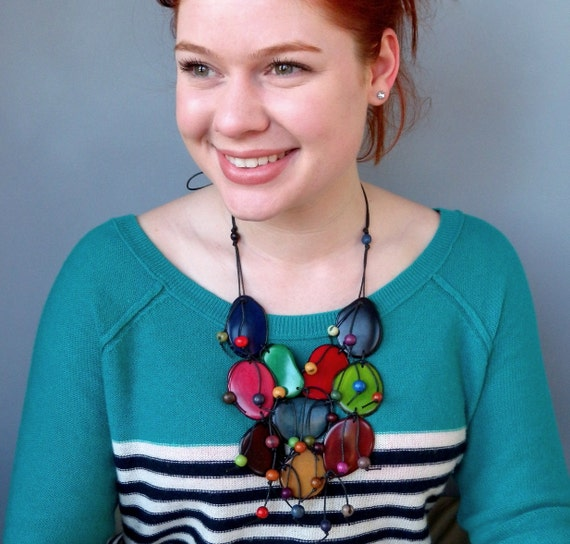 Tagua Nut and Acai Seed Eco Friendly Bib Necklace  with Free Shipping SALE was 80
