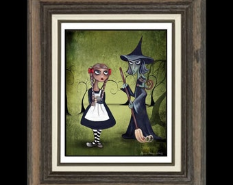 Wizard of Oz - Whimsical Fairytale Art Print -- Art  Print Giclee -Dorothy, Toto and Elphaba