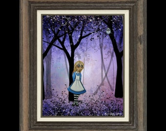 Alice in Wonderland Whimsical Art Print - Art  Print Giclee -  Alice in an Enchanted Forest